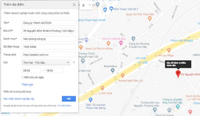 Đưa doanh nghiệp lên Google map, nhập thông tin