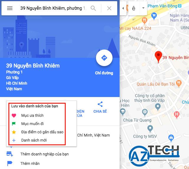 Cách lưu địa điểm trên Google map