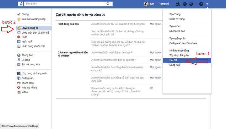 cách khóa tường facebook không cho người khác xem