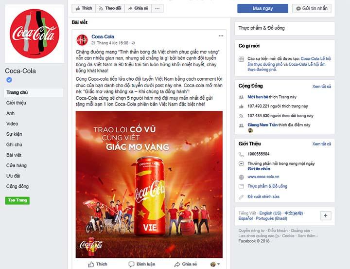 cocacola - những trang facebook được nhiều người like nhất