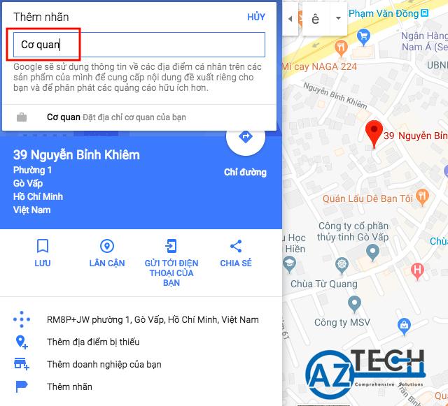 Đánh dấu địa điểm trên bản đồ Google map