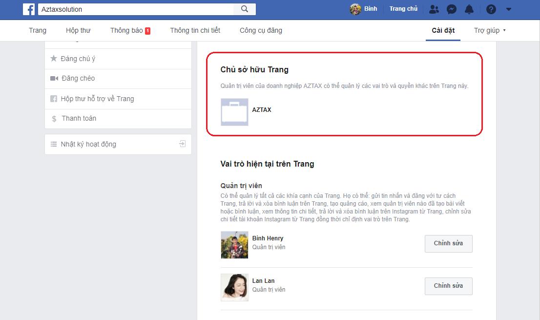 chủ sở hữu trang facebook business