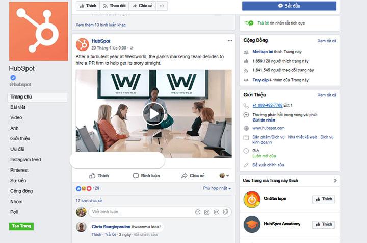 hubspot - những trang facebook được người like nhất