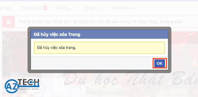 huỷ xoá trang fanpage facebook