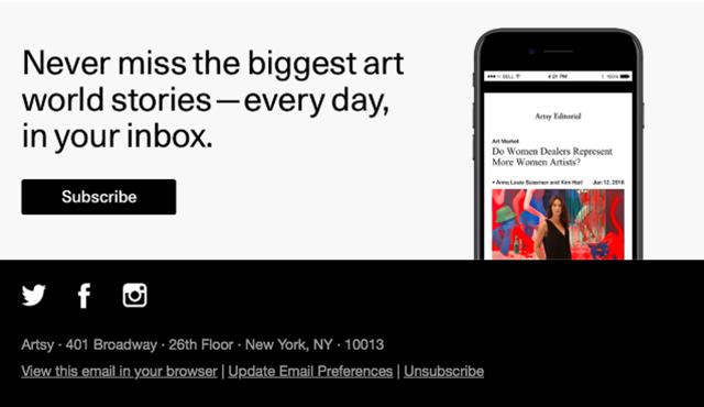Kích thước chân trang trong email marketing