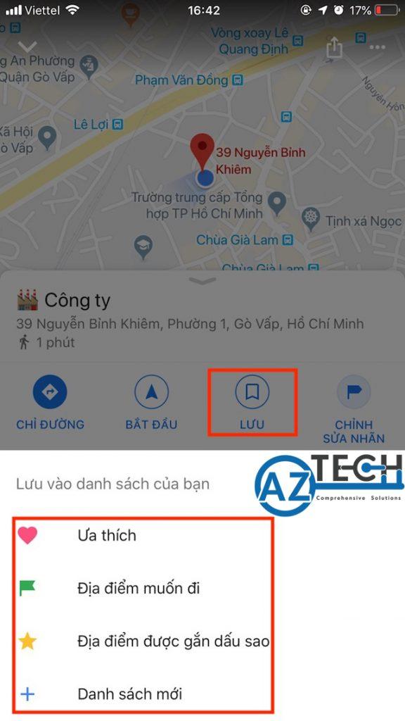 lưu địa điểm trên google map