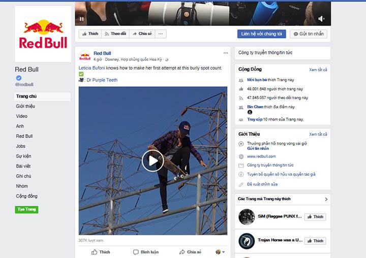 redbull - những trang facebook được nhiều người like nhất